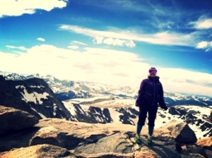 One of our new friends took this picture of me (in my cool outfit and goggles) on the summit of Mt Evans