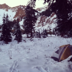 This was taken on my birthday morning.  It's what it looks like to camp in January.  But it was October.