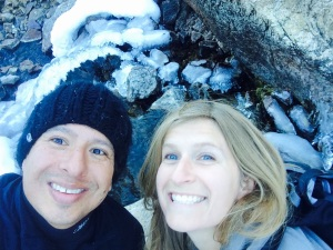 Mark and I, over the icy river