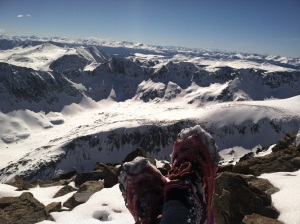 Just me and Luna, enjoying the summit of Quandary ALONE for the 7th time this winter or so